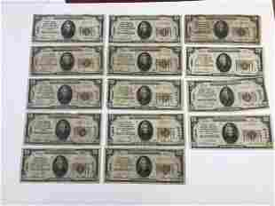 Lot (14) 1929 $20 San Francsico CA National Currency