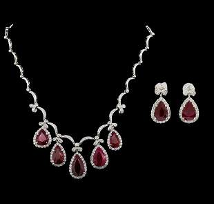 GIA Cert 44.80 ctw Ruby and Diamond Suite - 18KT White