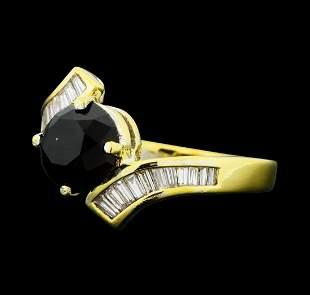 1.40 ctw Black and White Diamond Ring - 14KT Yellow