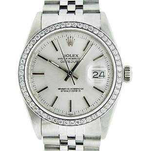 Rolex Mens Stainless Steel Silver Index 36MM Diamond