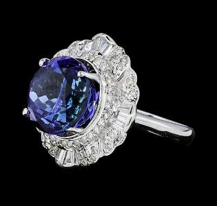 14.11 ctw Round Brilliant Tanzanite And Baguette Cut