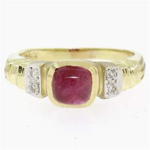 14k Yellow Gold 1.21 ctw Cabochon Ruby Solitaire Ring