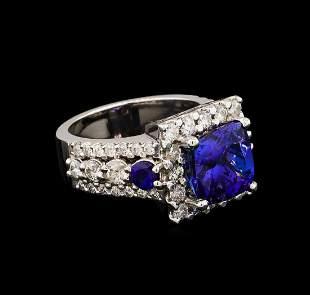4.94 ctw Tanzanite, Sapphire and Diamond Ring - 14KT