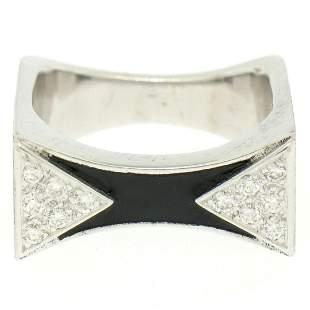 14K White Gold 0.30 ctw Diamond & Black Enamel Stone