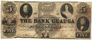 1854 $5 The Bank of Geuga, Painesville, OH Obsolete