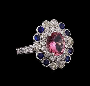 14KT White Gold 2.24 ctw Tourmaline, Sapphire and