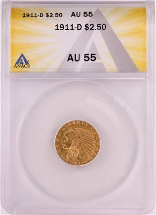 1911-D $2.5 Indian Head Quarter Eagle Gold Coin ANACS