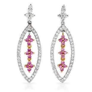 18k White Gold 1.15CTW Pink Sapphire and Diamond