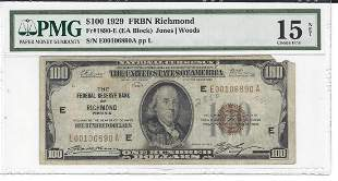 1929 $100 Federal Reserve Bank Note Richmond PMG Choice