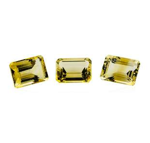 21.24 ctw.Natural Emerald Cut Citrine Quartz Parcel of
