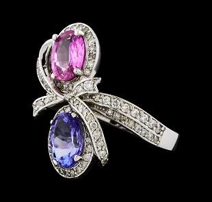 2.55 ctw Tanzanite, Pink Sapphire, and Diamond Ring -