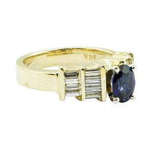 1.36 ctw Oval Brilliant Blue Sapphire And Diamond Ring