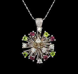 14KT White Gold 2.52 ctw Tourmaline and Diamond Pendant