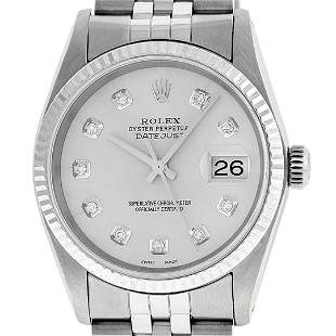 Rolex Mens Stainless Steel Silver Diamond Datejust