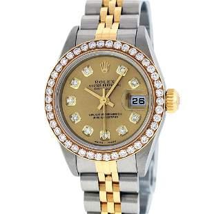 Rolex Ladies Quickset 2 Tone Champagne 1 ctw YG Diamond