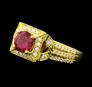 1.02 ctw Pink Tourmaline And Diamond Ring - 18KT Yellow