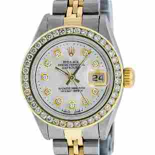 Rolex Ladies Quickset 2 Tone Mother Of Pearl Channel