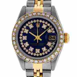 Rolex Ladies 2 Tone Quickset 18K Blue String Diamond