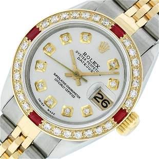 Rolex Ladies 2 Tone Silver Diamond & Ruby Datejust