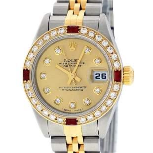 Rolex Ladies 2 Tone 18K YG/SS Quickset Champagne