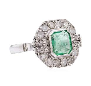 7.80 ctw Emerald And Diamond Ring And Earrings - 14KT