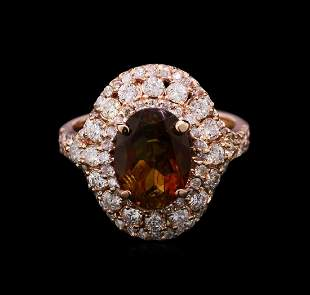 2.75 ctw Green Tourmaline and Diamond Ring - 14KT Rose