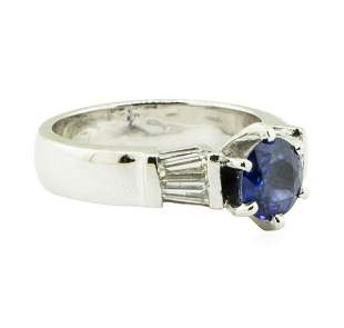 1.62 ctw Round Brilliant Blue Sapphire And Diamond Ring