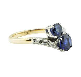 2.07 ctw Oval Brilliant Blue Sapphire Ring - 14KT