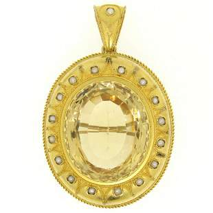 14k Yellow Gold 49 ctw Natural Citrine & Pearl Brooch