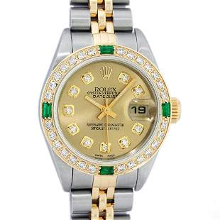 Rolex Ladies 2 Tone 18K Quickset Champagne Diamond &