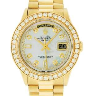 Rolex Mens 18K Yellow Gold MOP String Diamond 2.5 ctw