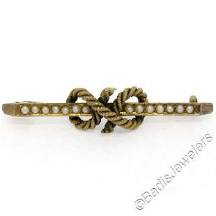Antique Victorian 15kt Yellow Gold Seed Pearl Knot Bar