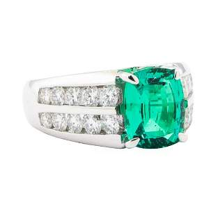4.25 ctw Lab Created Emerald And Diamond Ring - 18KT