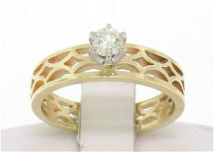 Estate 14k Solid Yellow Gold Solitaire Diamond Ring