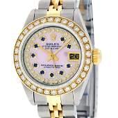 Rolex Ladies 2 Tone MOP Sapphire String Diamond