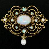 Vintage 14kt Yellow Gold 4.50 ctw Opal and Pearl Open