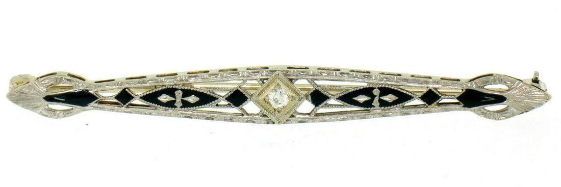 Antique Art Deco 14K White Gold Diamond & Black Enamel