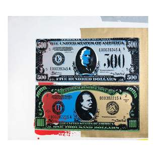 "Steve Kaufman (1960-2010), ""500 and 1000 Dollar Bills"""