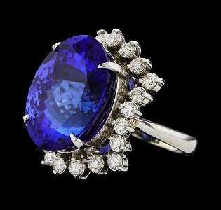 GIA Cert 22.45 ctw Tanzanite and Diamond Ring - 14KT