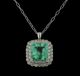 18.09 ctw Emerald and Diamond Pendant With Chain - 14KT
