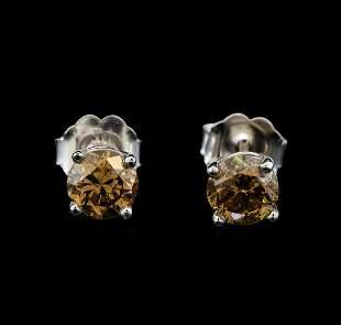 14KT White Gold 0.86 ctw Fancy Brown Diamond Stud