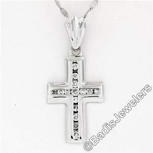 14kt White Gold 0.60 ctw Round Brilliant Diamond Cross