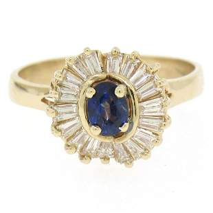 14kt Yellow Gold 1.00 ctw Sapphire Ring w/ Baguette