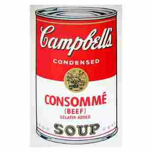 """Andy Warhol """"Soup Can 11.52 (Consomme)"""" Silk Screen"""