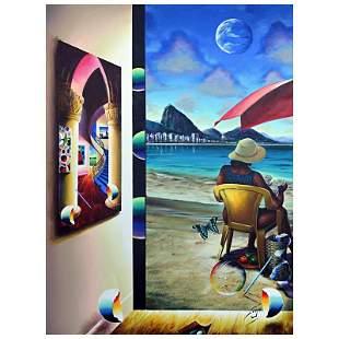 "Ferjo, ""Reading on the Beach"" Original Painting on"