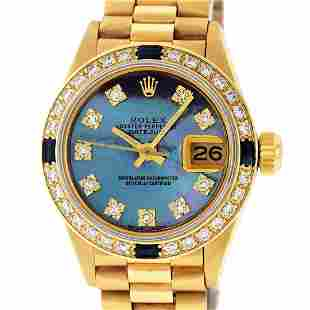 Rolex Ladies 18K Yellow Gold Sapphire And Tahitian MOP
