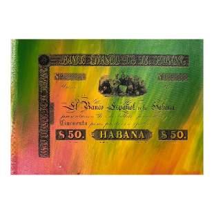 "Steve Kaufman (1960-2010), ""Banco Espanol de la Habana"""