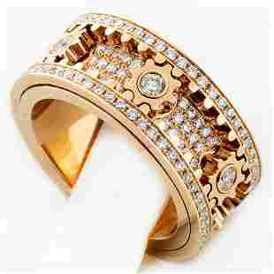 New 18K Rose Gold 2.75 ctw Spinning Gear Diamond Ring