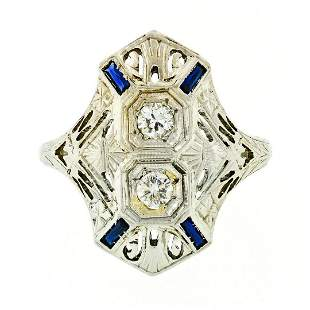 Art Deco 18kt White Gold Euro Cut Diamond & Sapphire