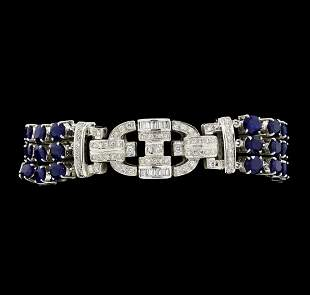 13.65 ctw Sapphire And Diamond Bracelet - 18KT White